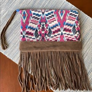 NWOT American Eagle wristlet with brown fringe